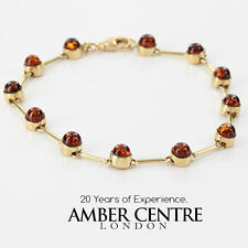 ITALIAN MADE  BALTIC AMBER BRACELET IN 9CT GOLD -GBR079 RRP£475!!!