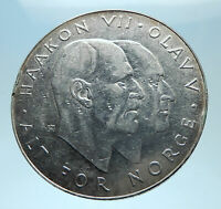 1970 NORWAY KING Olav V Haakon VII Norwegian 25 KR Silver 25 Kronor Coin i77928