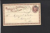 DUNLAP, IOWA 1875 GOVERNMENT POSTAL CARD, HARRISON CO. 1867/OP.