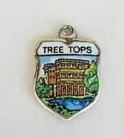 TREE TOPS ~ Vintage REU Silver Enamel Travel Shield Charm for Bracelet
