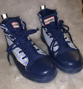Hunter for Target High Top Sneakers Youth Size 3 Blue White Stripes Skate Shoes