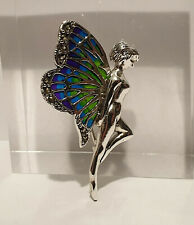 Vintage 925 Sterling Silver Plique A Jour Enamel and Marcasite Fairy Brooch