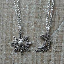 SILVER Sun e Moon collane, Coppia di collane CELESTE, luna e sole Ciondolo