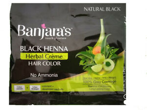 Banjaras Black Henna Herbal Creme Hair Color- For 100% Grey Coverage, No Ammonia