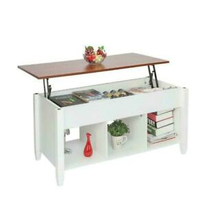 New Lift Top Coffee Table w/ Hidden Compartment Storage Shelves Modern Furniture