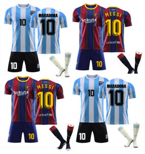 21/22 Home Kids Football Kits Blue Strips Shirt Soccer Jersey Training Suit UK