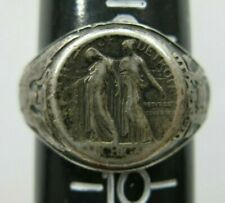 Antique 1920s City Of Detroit Sterling Ring W City Seal. 9.5 Weyhing Brothers
