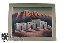 lLarge Southwestern Acrylic Landscape Painting Old Adobe Pueblos Montana Canvas