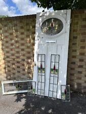 More details for reclaimed victorian edwardian wooden panel external front door fanlight surround