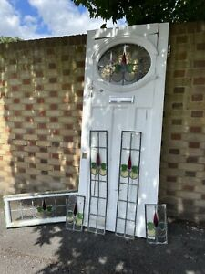 Reclaimed Victorian Edwardian Wooden Panel External Front Door Fanlight Surround
