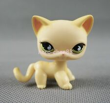 Littlest Pet Shop LPS Yellow Standing Cat #733 Short Hair Green eyes Girls Toys