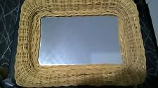 WICKER WEAVED RECTANGULAR WALL MIRROR 40 CMS X 30 CMS EXCELLENT CONDITION RATTAN