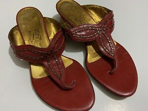 Women's SALVATORE FERRAGAMO Rustic Red Patent Leather Sandals Heels Shoes Size 7