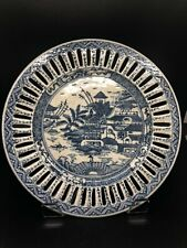 Old Chinese Export Blue & White Reticulated Canton Plate 10�
