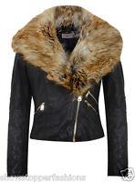 NEW Faux Fur BIKER JACKET Womens Crop FAUX LEATHER Ladies ZIP Size 8 10 12 14