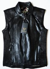 $7860 FREDO FERRUCCI Black 100% Genuine Python Leather Vest Size Medium