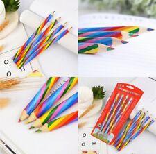 Kids Sketch Art Rainbow Color 4X Pencils Drawing School Supplies Wooden Painting