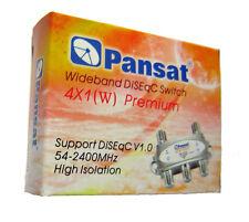 Pansat 4x1 DiSEqC Wideband Switch Premium FTA Connect 4 Satellite Dishes 4 LNB