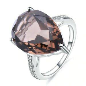 10.68Ct Natural Smoky Quartz Pear Gemstone Ring For Women Solid 925 Silver