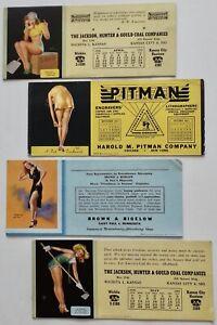 Lot of 4 Vintage 1930s - 1940s Earl Moran Pin-Up Advertising Ink Blotters B & B