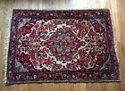Vintage Red Oriental Carpet Area Rug Pink & Blue Floral Pattern 4.75'