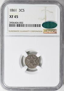 1861 Three Cent Silver Trime, NGC XF 45, CAC Approved. 180 Degree Die Rotation