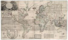 Old Vintage Antique World decorative map Moll ca. 1732