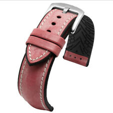 New Sweatproof 20mm Red Oil Leather Watch Strap Black Rubber Pad Watch band