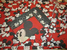VINTAGE Disney MICKEY MOUSE SHEET SET RED BLACK FITTED FLAT PILLOWCASE 3 PIECE