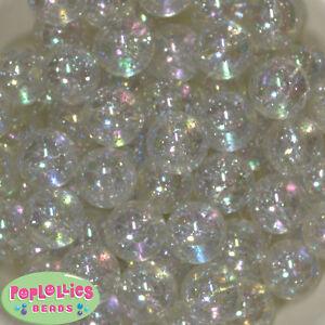 20mm Clear / White Glitter Style Acrylic Chunky Bubblegum Beads 20 pc