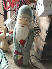 Grey wooden nordic/scandi SANTA statue large 28cm christmas decoration
