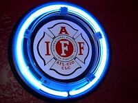 IAF Firefighter Fireman Fire Station Bar Man Cave Advertising Neon Wall Sign
