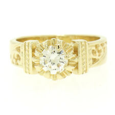 14k Yellow Gold Open Work 0.43ct G VVS1 Round Brilliant Diamond Solitaire Ring