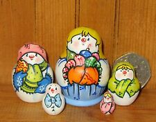 MINIATURE Russian 5 Nesting Doll House Snowman Family GIRL Latisheva Matryoshka