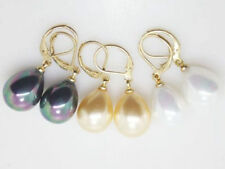 Beautiful 3 Color 12x16mm South Sea shell Pearl TearDrop Lever back Earring AAA