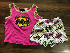 Batman Batgirl Pink Toddler Girl's 4T PJs Pajamas Two Piece Shorts Tank Top