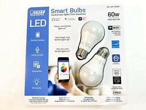 Feit Electric Smart Bulbs WiFi Google Alexa Siri LED Color Changing 60W 2 Pack