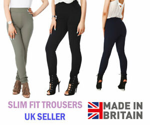 Ladies Full Length Slim Crepe Trousers Pockets Elasticated Waist Leggings 8-16