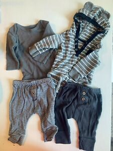 Lot of 4 Carters Baby Boys' Long-Sleeve Bodysuits and Pants Size 3 Months Grey