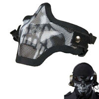 Military Airsoft Protective Half Face Mask Metal Steel Hunting Tactical Net Mesh