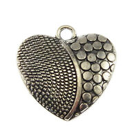 29pcs Antiqued Silver Mini Love Heart Look Alloy Pendants Charms Crafts 33459