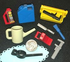w4~Playmobil Pick 1~Oil Can~Gas~Tire Chok~Wrench~Spatula~Caddy ~Brush~Auto Supply