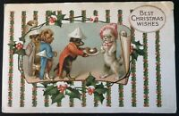 Humanized~Dressed Dogs Serving Sausage Antique~Christmas Fantasy Postcard-a-23
