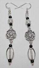 Dangle earrings - silver flower, clear + black glass beads