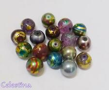 20 x 12mm Spray Painted Round Beads - Metallic Mix Drawbench Beads -  GB47