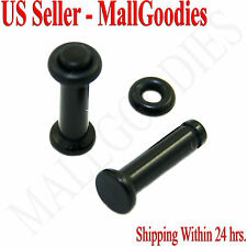 0930 Black Acrylic Single Flare Ear Plugs 8 Gauge 8G 3.2mm MallGoodies 1 Pair