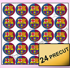 24 F.C Barcelona Pre-cut Edible Wafer Rice Card Cupcake Toppers Football cake