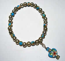 HANDMADE BLUE CLOISONNE FLOWER DESIGN BEADED STRETCH HEART CLIP CHARM BRACELET