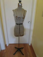 "Rustic 1900's Adjustable Dress Form Mannequin Blue knob & Cast Iron Base 65"" H."
