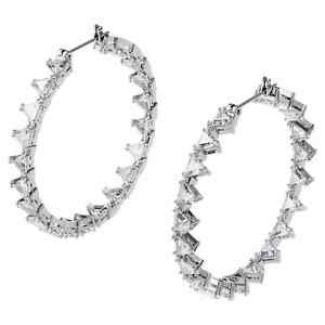 Millenia Hoop Earrings Triangle Swarovski Zirconia, Rhodium Plated 5602230